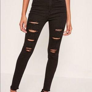 H&M Skinny Black Ankle High Waist Destroyed Jeans